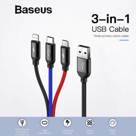 Baseus 3 i 1 USB Cable - Lightning/Micro/Type-C - 1 meter