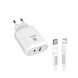 Baseus hurtig oplader - 32W med USB A og USB C inklusiv lightning kabel